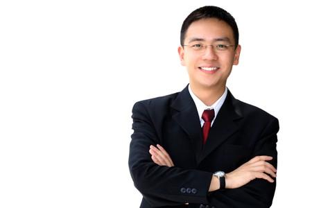 Young bien buscando hombre de negocios asiática sobre un fondo blanco aislado Foto de archivo - 6872685