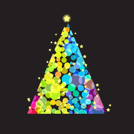 Illustration of a christmas tree with overlapping colorful bright round circles Vector