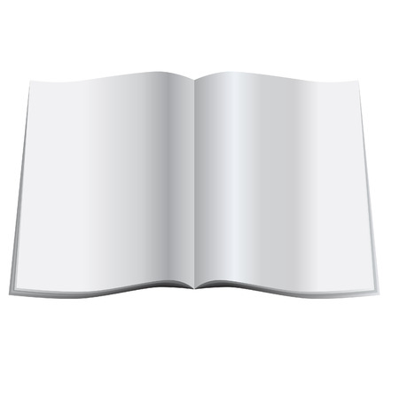 Illustration of a glossy blank magazine or journal spread open