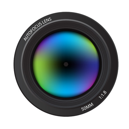 Illustration of a colorful dslr camera lens, front view Illustration