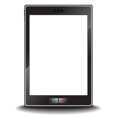 tactile:   Illustration of a modern generic cell or mobile phone with a blank screen