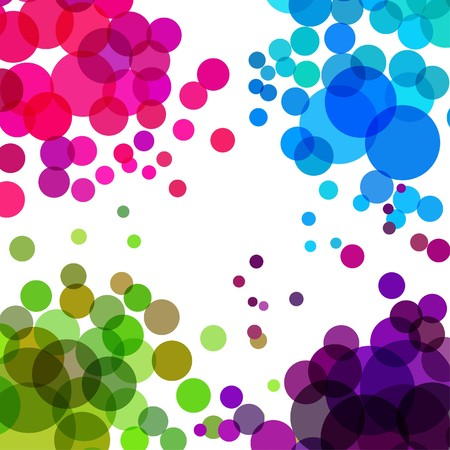Illustration of colorful retro circles or bubbles with space for text