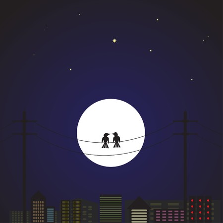 telephone pole: Illustration of a pair of love birds sitting on a wire pole against a cityscape backdrop