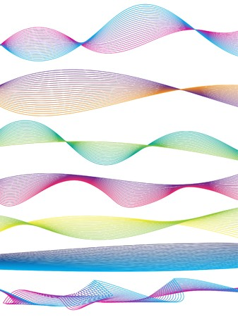 sinusoidal: Illustration of a collection of waveform patterns in various colors Stock Photo