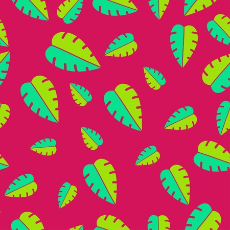 Illustration of colorful seamless tropical leaves pattern illustration