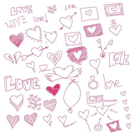 garabatos: Ilustraci�n de garabatos con s�mbolos de coraz�n para mensaje de amor de San Valent�n