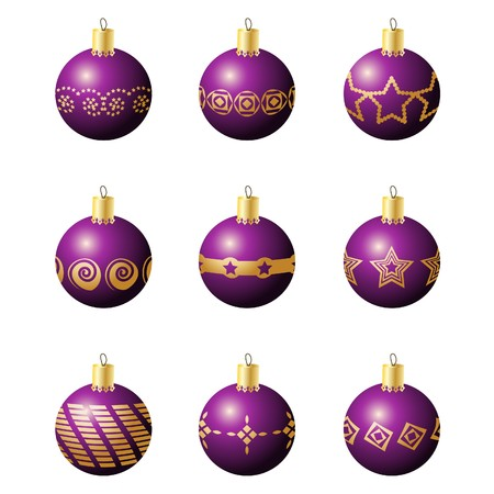 specular:  Illustration of colorful christmas decoration balls with various patterns Stock Photo