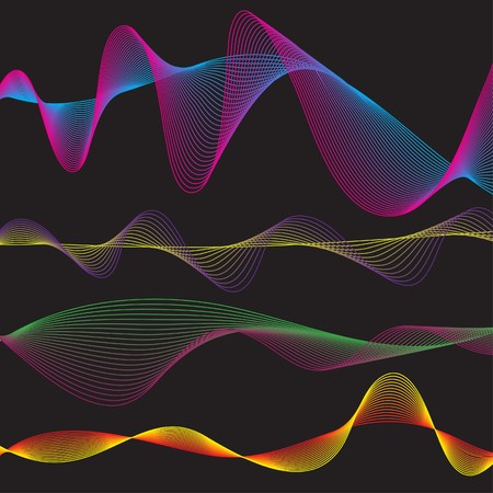 sinusoidal:   Illustration of a collection of waveform patterns in various colors