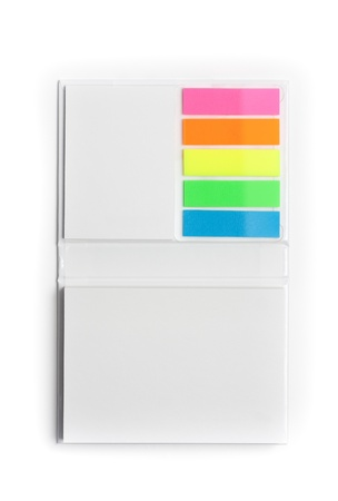 White notepad with colorful sticky reminder notes photo