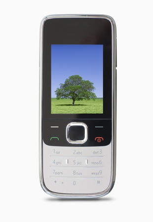 Mobile phone with a photo of a green tree and blue sky photo