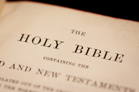 scripture: Inside cover of the holy bible containing the title
