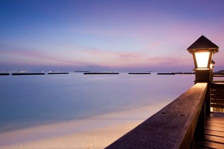 Night sky at a seaside beach resort with sun setting, long exposure Stock Photo - 11873794