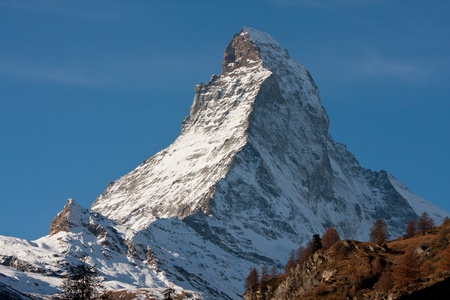 Zoomed up view of the Zermatt Matterhorn mountain in Switzerland photo