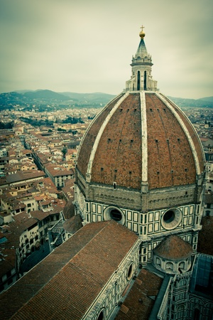 Top view of Duomo Cathedral Santa Maria del Fiore in Florence, Tuscany, Italy with cross processed vintage look Stock Photo - 12815640