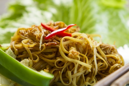 Chinese style fried yellow noodles closeup with a leaf of salad photo