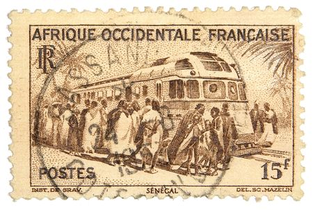 philately: French East Africa postage stamp on white background Stock Photo