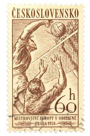 Czechoslovakia postage stamp on white background Stok Fotoğraf