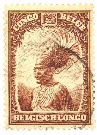 Belgian Congo postage stamp on white background Imagens