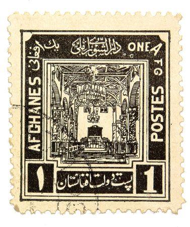 Afganistán sello sobre fondo blanco