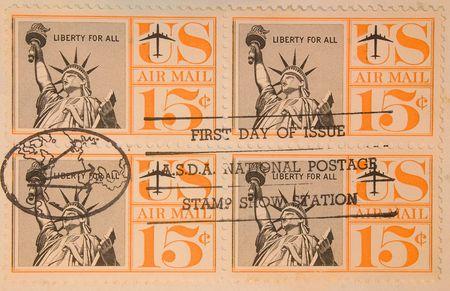 Vintage US air mail stamps Imagens
