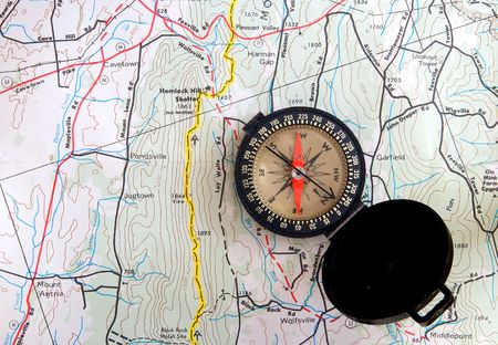 Compass on topographic map
