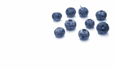 Close-Up of Blueberries with White Space
