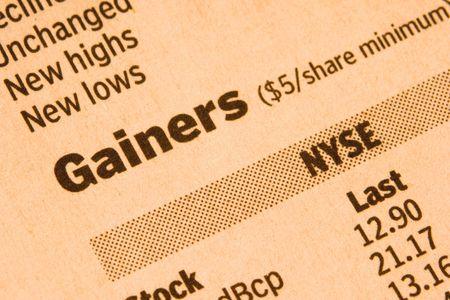 Newspaper Stock Market Gainers