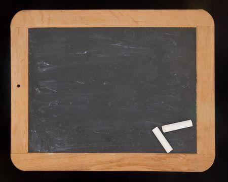 Blackboard and chalk Stockfoto