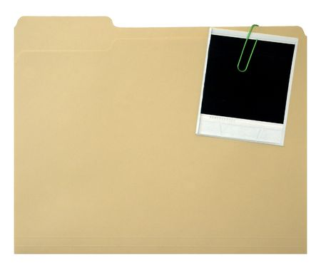 card file: Blank instant print clipped to file folder