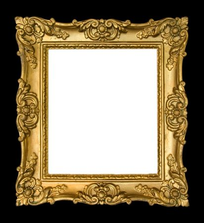Ornate, vintage gold frame on black background