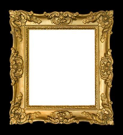 gold frames: Ornate, vintage gold frame on black background