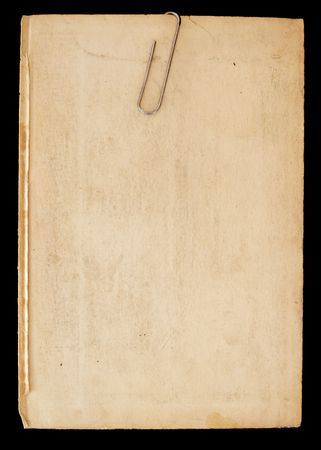 Blank page, with paper clip, from very old book