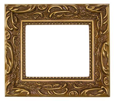 Gold, ornate antique frame Imagens