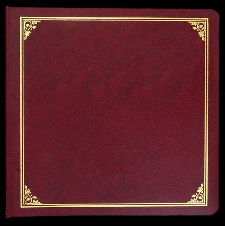 album cover: Burgundy photo album cover with gold border