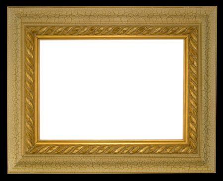 Wide border antique gold frame on black background