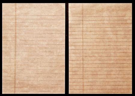 Dos hojas de rayado del libro mayor de edad documento sobre fondo negro Foto de archivo - 3638168