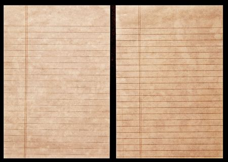 Two sheets of old lined ledger paper on black background