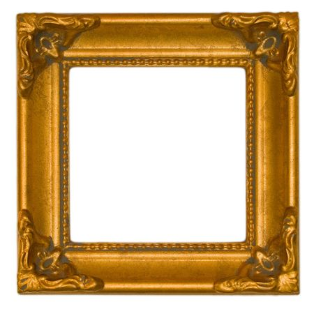 Very ornate bright gold antique frame