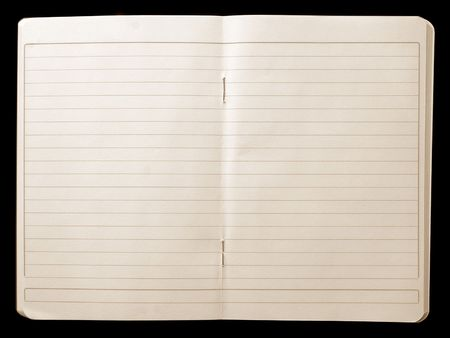 Open notebook with lined pages