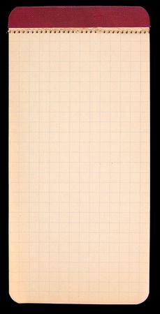 Old mini notebook with gridded pages Imagens