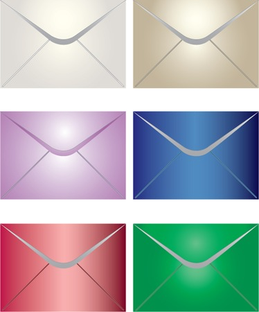 Six colorful envelopes Vector