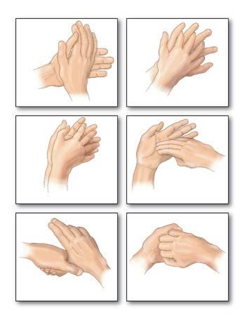 Drawing to show the correct methods of hand washing to remove all trace of bacteria