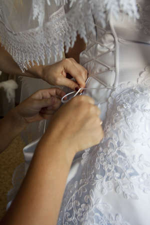 To the bride fasten a wedding dress Stock Photo - 8954077