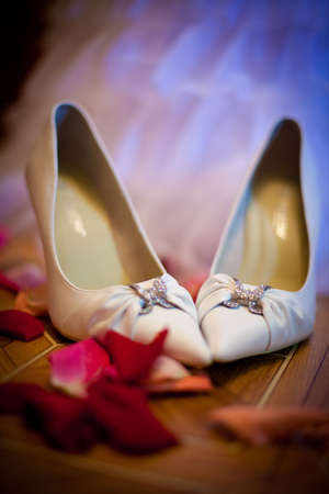 bridal wedding shoes with a heel in rose petals