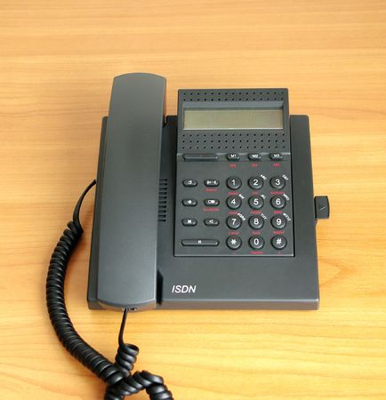 isdn: digital (ISDN) telephone  on color background  Stock Photo