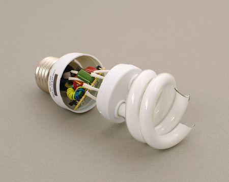 visceral: broken energy-efficient luminescent lamp with visceral elements