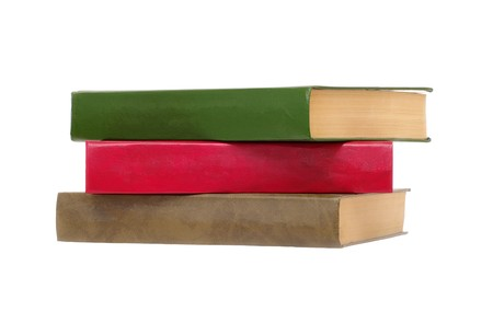 tomes: stack of three tomes on white isolated