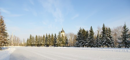 winter panorama park of Victory Day.Omsk.Russia.