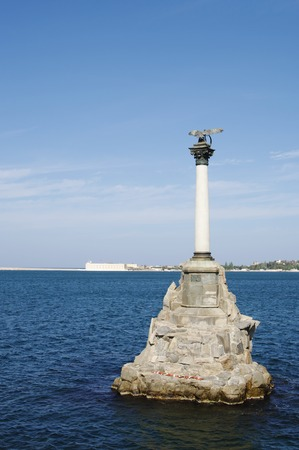 sunken: Monument to  sunken ships in Black sea, symbol of Sevastopol, Crimean peninsula, Russia.