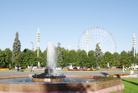 gush: MOSCOW, RUSSIA - SEPTEMBER 16, 2014: ENEA VDNH,VVC,  Alley of fountains and view of Ferris wheel